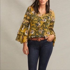 Cabi scene sheer floral ruffle top size small